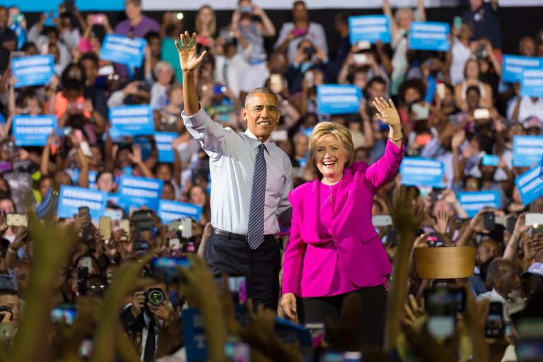 President Obama and Hillary Clinton campaigning in Charlotte at the Charlotte convention Center on July 5, 2016. Photo by Jim Froneberger
