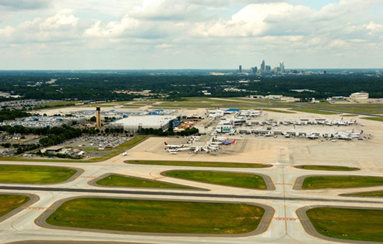 Aerial photography of Charlotte Douglas International Airport, in Charlotte, NC. Charlotte was the 6th busiest airport in the world, based on traffic movements, and in 2013 it was the 23rd busiest airport in the world by passenger traffic.  Charlotte Photographer - PatrickSchneiderPhoto.com