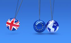 61153985 - brexit global business consequences concept with union jack, eu flag on balls and world map globe 3d illustration.