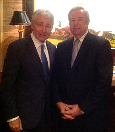Former SECDEF Chuck Hagel visiting with CLT.biz Publisher John Paul Galles